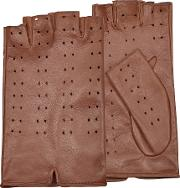 Forzieri Women's Gloves, Women's Tan Perforated Fingerless Leather Gloves