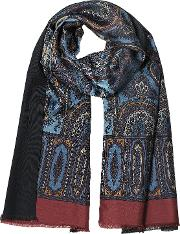 Modal & Silk Ornamental Print Men's Fringed Scarf