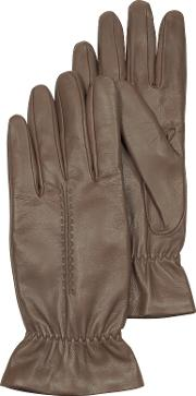 Taupe Leather Women's Gloves Wwool Lining
