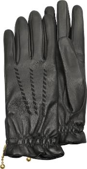 Women's Embroidered Black Calf Leather Gloves