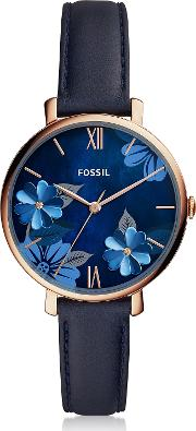 Jacqueline Three Hand Floral Blue Leather Watch