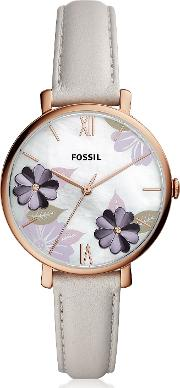 Jacqueline Three Hand Floral Gray Leather Watch
