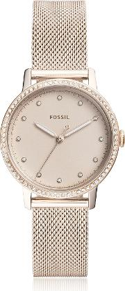 Neely Three Hand Pastel Pink Stainless Steel Watch