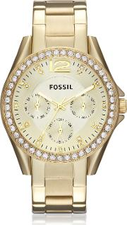 Riley Multi Function Gold Tone Women's Watch