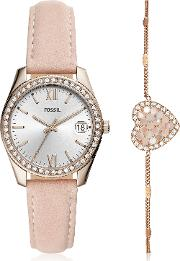 Scarlette Mini Three Hand Date Blush Leather Watch Set