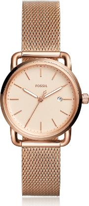 The Commuter Three Hand Date Rose Tone Women's Watch