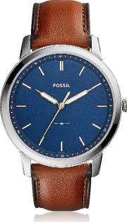 The Minimalist Slim Three Hand Light Brown Leather And Blue Dial Men's Watch