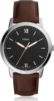 The Minimalist Three Hand Brown Leather Watch