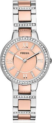 Virginia Two Tone Stainless Steel Women's Watch Wcrystals