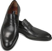 Black Calf Leather Penny Loafer Shoes