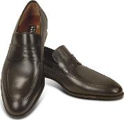 Dark Brown Calf Leather Penny Loafer Shoes