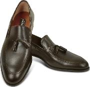 Dark Brown Calf Leather Tassel Loafer Shoes