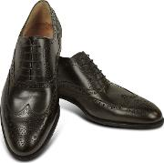 Dark Brown Calf Leather Wingtip Oxford Shoes