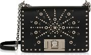 Onyx Mimi Mini Crossbody Bag W Silver Studs
