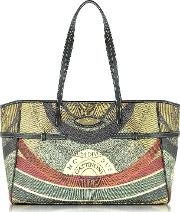Planetarium Coated Canvas Tote Wleather Strips