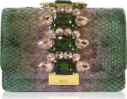Cliky Lilac And Mint Shadow Python Clutch Wcrystals
