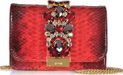 Cliky Red Shadow Python Clutch Wcrystals And Chain Strap
