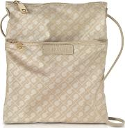 Clay Signature Fabric And Leather Softy Crossbody Bag Wzip Front Pocket