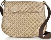 Signature Fabric And Leather Softy Small Shoulder Bag Wzip Front Pocket