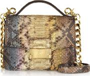 Brown Paillette Python Leather Crossbody Bag