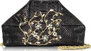 Ghibli Handbags, Black Python Shoulder Bag Wcrystals