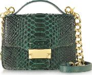 Ghibli Handbags, Emerald Green Python Leather Shoulder Bag