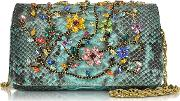 Turquoise Python Mini Crossbody Bag Wmulticolor Crystals