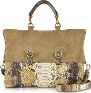 Golden Brown Python Tote Wdetachable Shoulder Strap