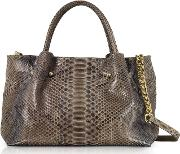 Gray Python Leather Satchel Bag