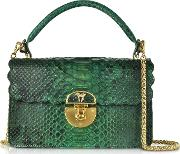 Python Leather Top Handle Satchel Bag