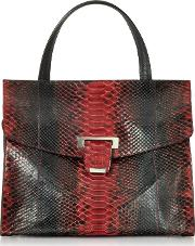 Red Python Leather Top Handle Satchel Bag