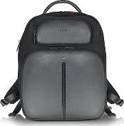 1919 - Web File 2 Black Leather And Nylon Men's Backpack