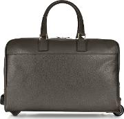 Dark Brown Travel Leather Rolling Duffle