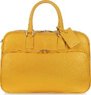 Travel Yellow Leather Double Handle Carry On