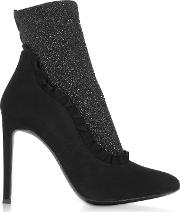Black Suede And Glitter Stretch Fabric High Heel Booties