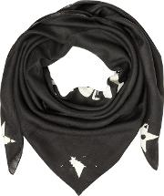 Black Wool And Silk Signature Wrap
