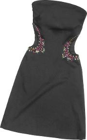 Black Crystal Decorated Cut Out Strapless Dress