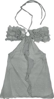 Gray Ruched Front Silk Crepe Halter Top