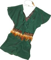 Jade Green Silk Tunic With Feather Belt