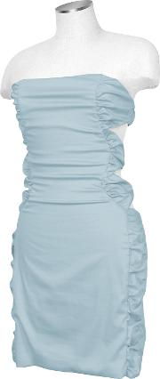 Light Blue Cut Out Back Strapless Mini Cotton Dress