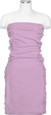 Lavender Cut Out Back Strapless Mini Cotton Dress