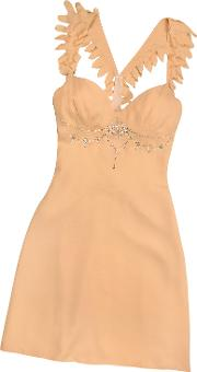 Peach Crystal Decorated Silk Crepe Dress