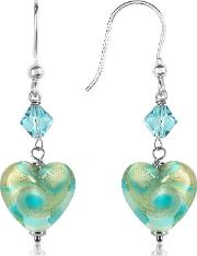 Vortice Turquoise Swirling Murano Glass Heart Earrings
