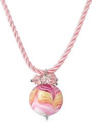 Mare - Pink Murano Glass Ball Pendant Necklace