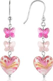 Mare - Pink Murano Glass Heart Drop Earrings