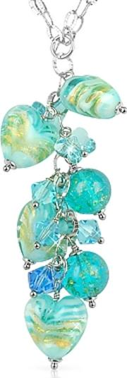 Mare - Turquoise Murano Glass Heart Drop Necklace