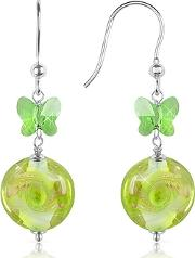 Vortice - Lime Swirling Murano Glass Bead Earrings