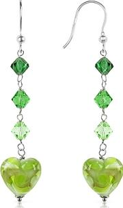Vortice - Lime Swirling Murano Glass Heart Earrings