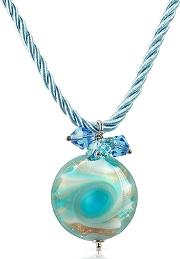 Vortice - Turquoise Murano Glass Small Swirling Bead Necklace