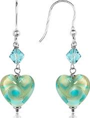 Vortice - Turquoise Swirling Murano Glass Heart Earrings